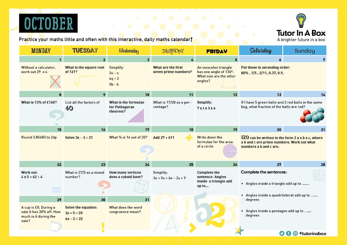 Tutor In A Box Calendar